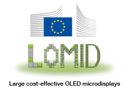 Logo for the LOMID project, developing large OLED panels for visual prosthetics. Supported by H2020.