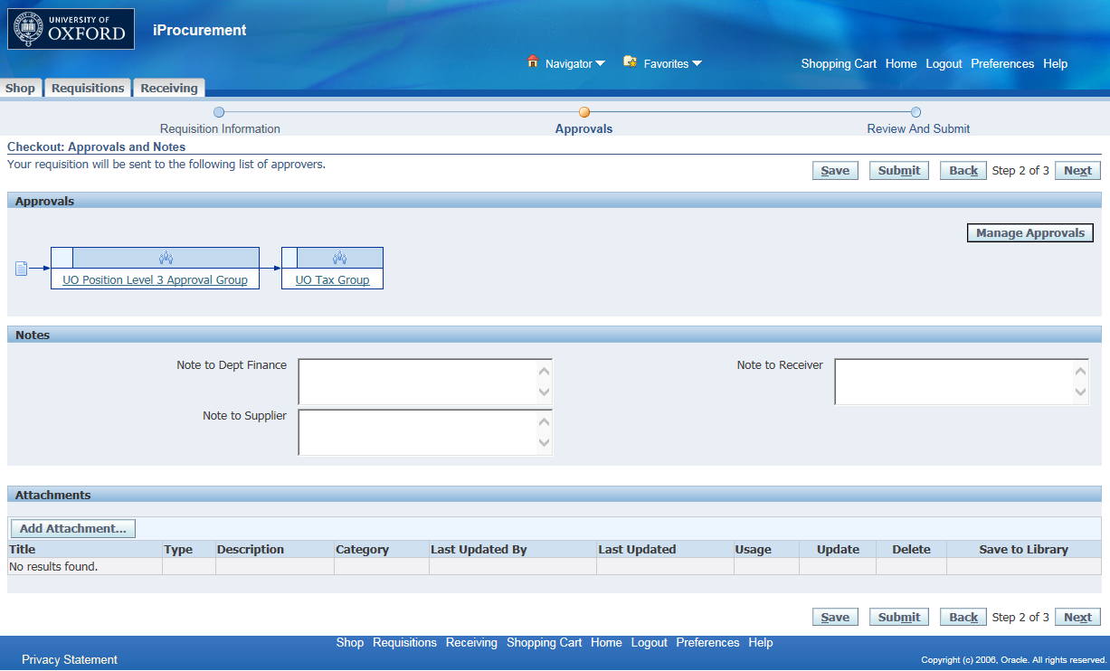 An example of the approvals and notes screen in the R12 iProcurement coding screen