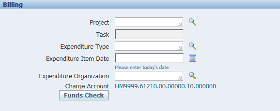 An example of blank billing information boxes in the R12 iProcurement coding screen
