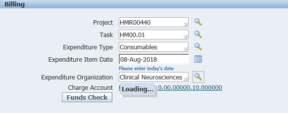 An example of completed billing information boxes in the R12 iProcurement coding screen