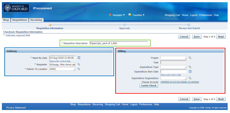 An example of the main R12 iProcurement coding screen