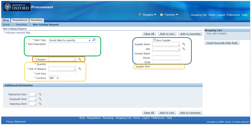 This is a screenshot of the non-catalog request screen from R12 iProcurement