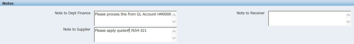 An example of the notes to Dept Finance/Supplier boxes in the R12 iProcurement coding screen